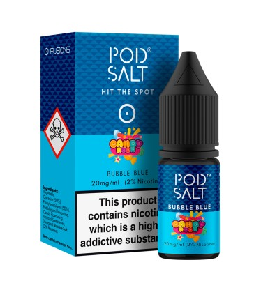 POD SALT BUBBLE BLUE 10ML NICOTINE SALT E-LIQUID FUSION (FR) - 20MG/ML
